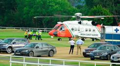 Ana O'Brien is airlifted to hospital after a fall in Killarney last night. Photo: Healy Racing