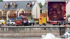 Emergency services at the scene of the drowning at Tarmon Harbour. Photo: Colin O'Riordan. Inset: Damola Adetosoye