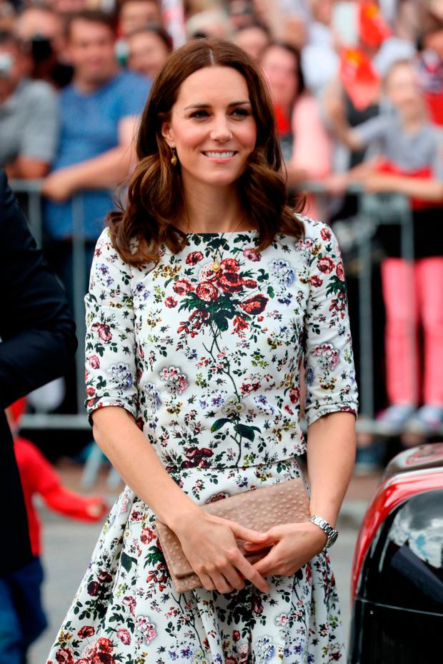 The Duchess of Cambridge arrives to visit the Gdansk Shakespeare Theatre on the second day of a three-day tour of Poland with her husband the Duke of Cambridge