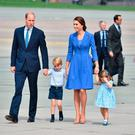 The Duke and Duchess of Cambridge with Prince George and Princess Charlotte leave Warsaw, Poland, as they head to Germany