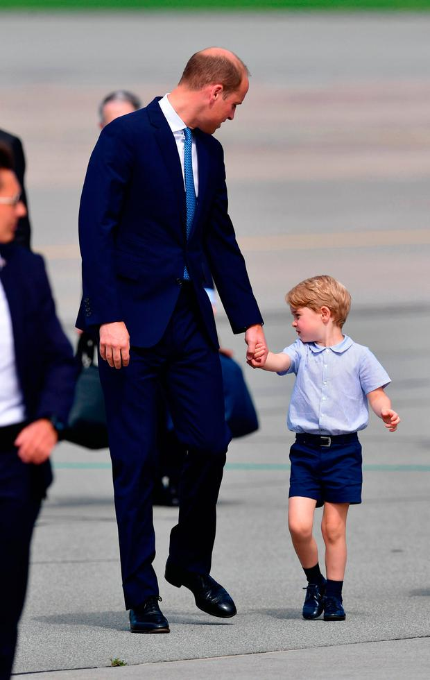 The Duke of Cambridge with Prince George leave Warsaw, Poland, as they head to Germany