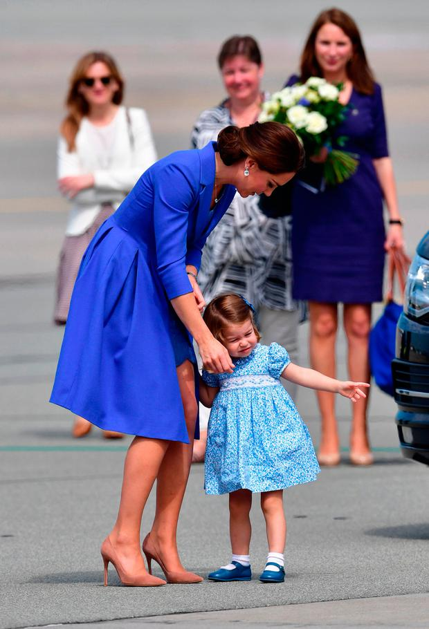 The Duchess of Cambridge with Princess Charlotte leave Warsaw, Poland, as they head to Germany