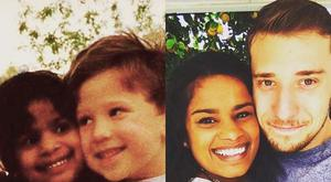 Matt and Laura in their preschool days (left). The couple recently wed (right)