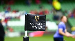 May 27th 2017, Aviva Stadium, Dublin, Ireland; Guinness Pro12 Rugby Final, Munster versus Scarlets; The Guinness Pro12 corner flag (Photo by Peter Fitzpatrick/Action Plus via Getty Images)