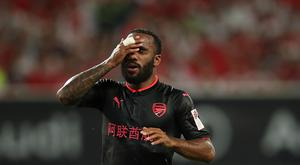 Alexandre Lacazette of Arsenal FC reacts during the 2017 International Champions Cup football match between FC Bayern and Arsenal FC at Shanghai Stadium on July 19, 2017 in Shanghai, China. (Photo by Lintao Zhang/Getty Images)