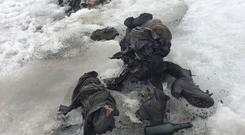 Shoes and clothing are visible at a Swiss glacier where two bodies were found