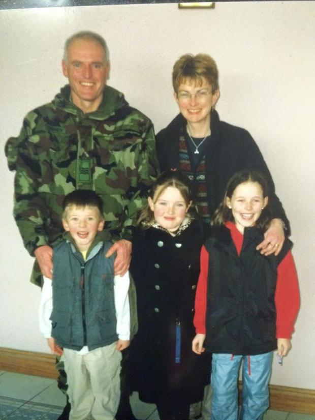 Author Patricia Gibney pictured with her husband Aidan and their three children, Aisling, Orla and Cathal, in 2009