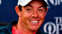 Rory McIlroy is all smiles at yesterday's press conference. Photo: Dan Mullan/Getty Images
