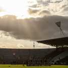 Players from Blarney and Valley Rovers stand for the national anthem ahead of last night's first game at the redeveloped Páirc Uí Chaoimh. Photo: Eóin Noonan/Sportsfile