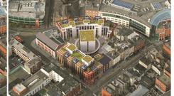 An aerial view of the proposed Aungier Street student scheme
