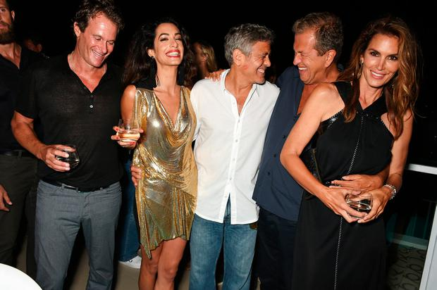 Rande Gerber, Amal and George Clooney, Mario Testino and Cindy Crawford enjoy Ibiza
