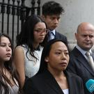 Tristan's mother Angela Neiland (center) speaks after the High Court hearing