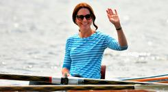 The Duchess of Cambridge in a boat after a competitive race between the twinned town of Cambridge and Heidelberg, Germany
