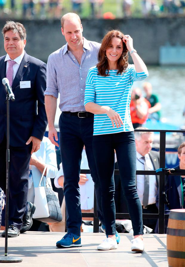 Prince William, Duke of Cambridge and Catherine, Duchess of Cambridge after participating in a rowing race between the twinned town of Cambridge and Heidelberg on day 2 of their official visit to Germany on July 20, 2017 in Heidelberg, Germany. (Photo by Chris Jackson/Getty Images)