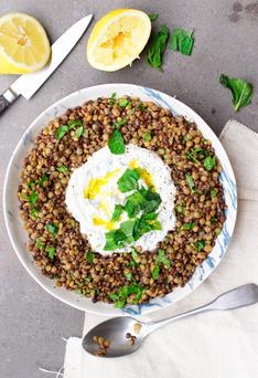 Indy Power's Black lentil salad with mint yoghurt