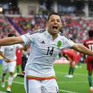 Javier Hernandez of Mexico celebrates his sides first goal during the FIFA Confederations Cup Russia 2017 Play-Off for Third Place between Portugal and Mexico at Spartak Stadium on July 2, 2017 in Moscow, Russia. (Photo by Laurence Griffiths/Getty Images)