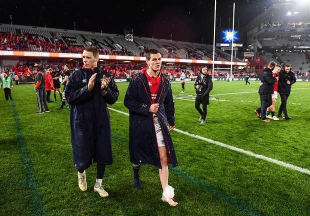 Liam Williams and Jonathan Sexton of the British & Irish Lions following the Third Test match between New Zealand and the British & Irish Lions Getty
