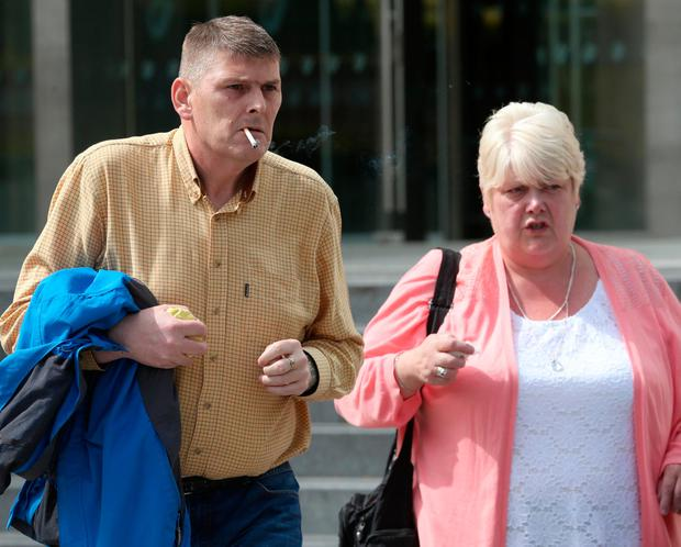 Colm O'Hara (49), of no fixed abode, and his sister Miriam O'Hara leave the Dublin Circuit Criminal Court this afternoon. Pic Collins Courts.