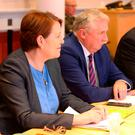 Garda Commissioner Nóirín O'Sullivan, left, and Justice Minister Charlie Flanagan, right, attend the first meeting of the Government Security Committee at Government Buildings yesterday
