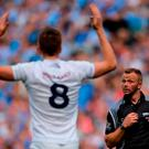 Kevin Feely of Kildare remonstrates with referee Anthony Nolan during the Leinster GAA Football Senior Championship Final match between Dublin and Kildare at Croke Park in Dublin. Photo by Piaras Ó Mídheach/Sportsfile