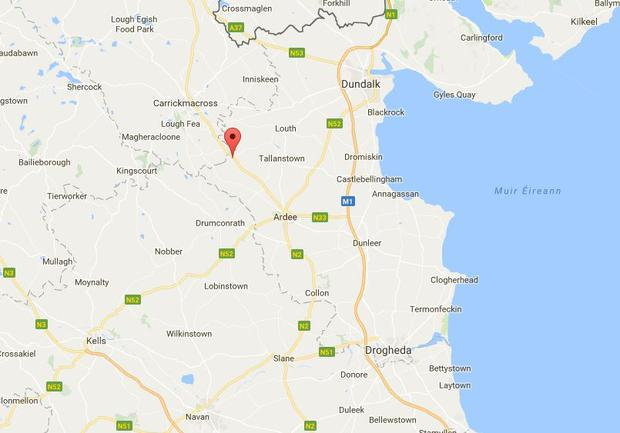 The three-car collision occurred south of Aclint Bridge, Ardee, Co Louth at approximately 1am on Friday July 21 (Image: Google Maps)
