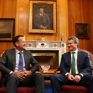 Pictured following a meeting in Government Buildings today to discuss the announcement are Taoiseach Leo Varadkar with Chairman and CEO of Bank of America Brian Moynihan