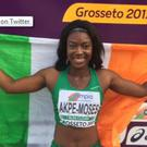 Gina Akpe-Moses has won gold for Ireland in the 100m sprint at the European Under-20 Championships. Pic: @irishathletics