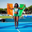 Ireland's Gina Akpe-Moses, Blackrock AC, Co Louth, after winning the European U20 100m Women title in 11.71 seconds at the European Athletics U20 Championships in Grosseto, Italy. issued on behalf of Athletics Ireland by Sportsfile