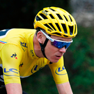 Britain's Chris Froome, wearing the overall leader's yellow jersey, rides during the nineteenth stage of the Tour de France Photo: AP Photo/Christophe Ena
