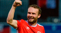 Conan Byrne celebrates at the final whistle after St Patrick's Athletic's victory against Bray last night Photo: Piaras Ó Mídheach/Sportsfile