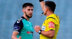 Derry City's Aaron Barry is shown a red card Photo: Sam Barnes/Sportsfile