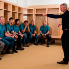 Former Cork hurler Seanie McGrath, Head of Sales at OCS Ireland, gives his team a talk at Páirc Uí Chaoimh this week. Photo: Eóin Noonan/Sportsfile