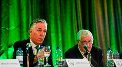 FAI Chief Executive John Delaney, left, and President Tony Fitzgerald at the FAI Annual General Meeting at the Hotel Kilkenny in Kilkenny. Photo by Ramsey Cardy/Sportsfile