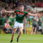Cillian O'Connor of Mayo after scoring a point during the GAA Football All-Ireland Senior Championship Round 4A match between Cork and Mayo at Gaelic Grounds in Co. Limerick. Photo by Piaras Ó Mídheach/Sportsfile
