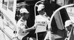 Tom Simpson (L) and Barry Hoban before the start of the 13th stage of the Tour de France on July 13, 1967. Photo: Getty Images