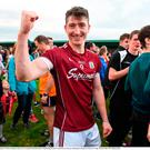 Johnny Heaney of Galway celebrates after the GAA Football All-Ireland Senior Championship Round 4A match between Galway and Donegal at Markievicz Park in Co. Sligo. Photo by Oliver McVeigh/Sportsfile