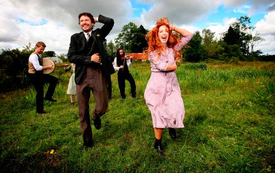 REMEMBERING: Richard Clements (Jimmy) and Lisa Lambe (Oonagh, Jimmy's childhood sweetheart) dance outside Jimmy Gralton's former home in Effrinagh