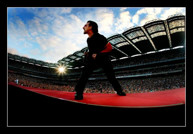 Bono on stage in concert at Croke Park Photo: David Conachy