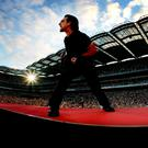 U2 Vertigo Croke Park. Bono on stage in concert at Croke Park last night Picture By David Conachy. 25/06/05