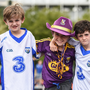 Evan Mullally, left, and Zach Mullally, right, from Ferrybank, Co Waterford, with Adam Grant, from Rosslare Harbour prior to the GAA Hurling All-Ireland Senior Championship Quarter-Final match between Wexford and Waterford at Páirc Uí Chaoimh in Cork. Photo by Stephen McCarthy/Sportsfile