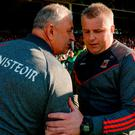Cork manager Peadar Healy, left, with Mayo manager Stephen Rochford after their Round 4A clash at the Gaelic Grounds, Co. Limerick. Photo: Piaras Ó Mídheach/Sportsfile
