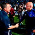 Wexford manager Davy Fitzgerald congratulates Waterford counterpart Derek McGrath after the final whistle yesterday. Photo: STEPHEN McCARTHY/ SPORTSFILE