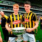 Just like their fathers before them...Sean Carey, son of DJ Carey, and James Power, son of John Power, celebrate Kilkenny intermediates' victory. Photo: Ray McManus/Sportsfile