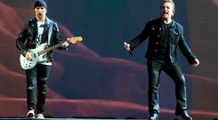 Edge and Bono on stage. Picture: Steve Humphries