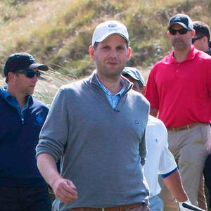 Eric Trump, front, in white hat, playing golf with friends in Doonbeg over the weekend. Photo: Press 22