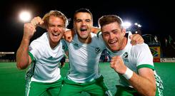 Alan Sothern of Ireland(C) celebrates the win with team mates Stuart Loughrey(L) and Shane O'Donoghue after the final whistle. Photo: Getty