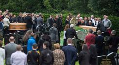 Mourners gathered at the Church of St Joseph and St Conal in Bruckless, Co Donegal where Margaret McGonagle (69) and her daughter Mairead Mandy (38) were laid to rest.