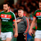 Mayo manager Stephen Rochford, flanked by Kevin McLoughlin and Andy Moran in the Gaelic Grounds, has plenty to work on ahead of Sunday's clash with Roscommon. Photo by Piaras Ó Mídheach/Sportsfile