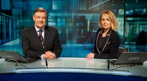 Sharon Ni Bheolain with fellow RTE newscaster Bryan Dobson