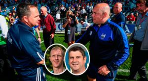 Davy Fitzgerald shakes hands with Michael Duignan and (inset) Henry Shefflin and Michael Duignan